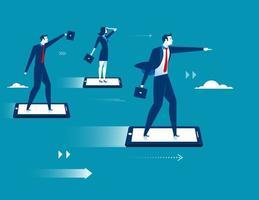 Empresarios volando en teléfono inteligente vector