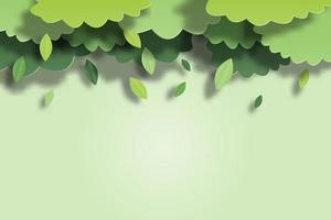 Gröna blad som faller av trädet i pappersklippt stil