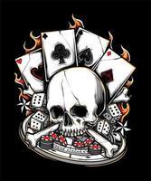 Ilustración de calavera de póker vector