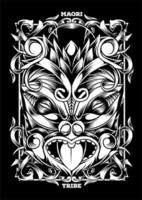 maori mask tribal tatuering illustration