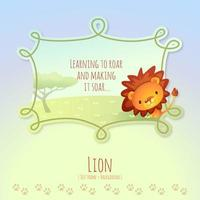 Cartoon African Lion with Text Frame Callout vector