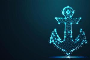 Blue Glowing Wireframe Polygonal Anchor
