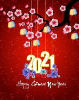 Chinese New Year Hanging 2021 Poster on Red with Blossoms vector