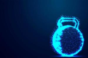 Glowing Blue Wireframe Kettle Bell