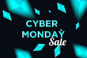 Cyber Monday Sale Poster with Glowing Diamonds