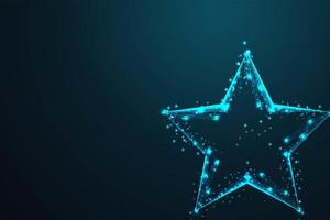 Glowing Wire Low Poly Geometric Star Shape vector