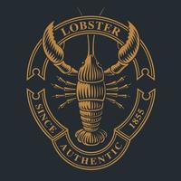 emblema vintage com uma lagosta para tema de frutos do mar
