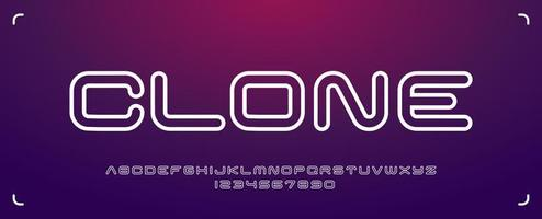 Futuristic Rounded Typeface in Minimalist Style vector