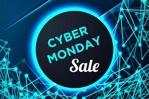Cyber Monday Poster with Circle Frame and Connected Shapes vector