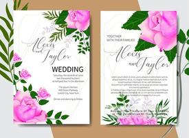 Watercolor Wedding Invitation Card with Roses in Corners