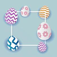 Patterned Easter Eggs and White Frame