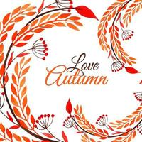 Watercolor Autumn Design with Swirling Foliage