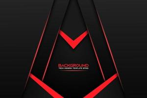 Black Layered Angle Background with Red Details vector