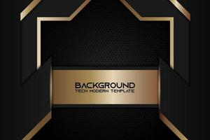 Metallic Angled Background with Golden Black Frame vector