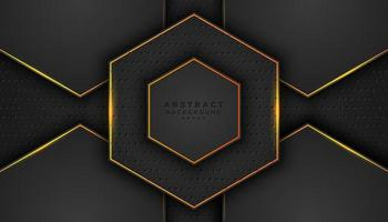 Dark 3D Hexagon Background with Orange Outlines