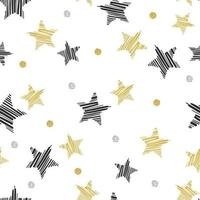Black and Gold Glitter Star Pattern vector