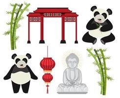 un conjunto de elementos asiáticos