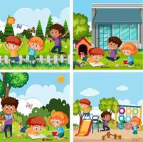 um conjunto de crianças brincando no playground vetor