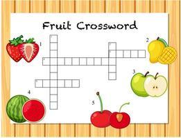 Fruit crossword game template vector