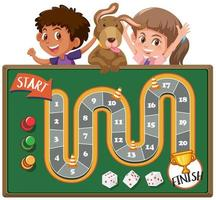 juego de mesa con niños y perro en segundo plano vector