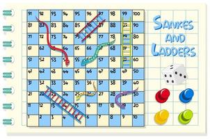 Snakes and ladders game on blue and white grid vector