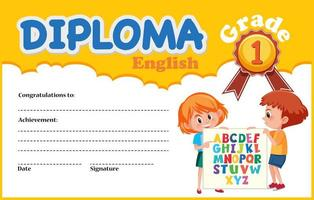 English diploma certificate template vector
