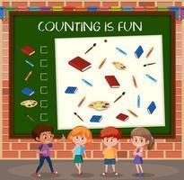 plantilla de juego de conteo de niños vector