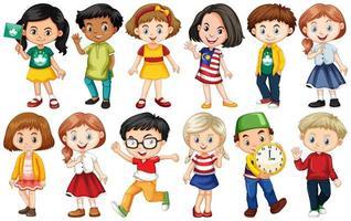 conjunto de niños de diferentes países vector