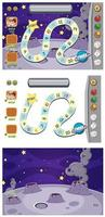 Set of game templates with moon surfaces vector