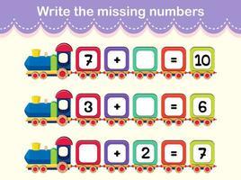 escribe el cartel del tren de los números que faltan