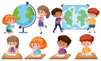 Children with learning tools vector