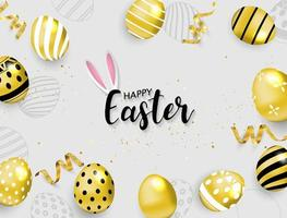 Happy Easter Background Gold Eggs and Ribbons