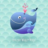 Happy Marine Whale Blows Love Hearts vector