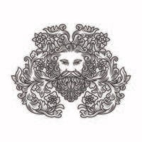 Ornate Floral Illustration of Mans Head With Beard vector