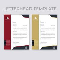 Red and Beige Vertical Border Letterhead Templates