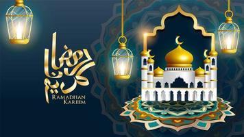 Ramadan Kareem design mosque with 3 hanging lanterns
