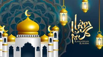 Ramadan Kareem calligraphy with mosque and lanterns