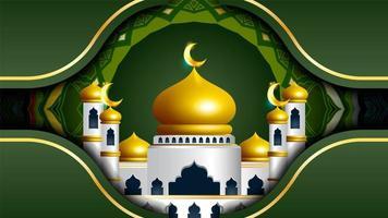 Ramadan Kareem green design with mosque and mandala