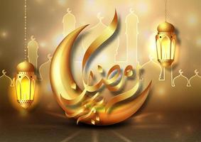 Ramadan Kareem card with golden hanging lanterns