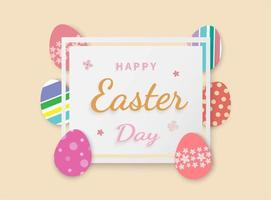 Easter eggs in square frame