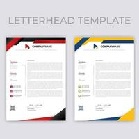 Red and Yellow Geometric Letterhead Templates