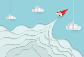 Avión de papel volando en el cielo en papel cortado estilo vector