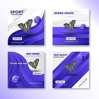 Square purple social media post template set