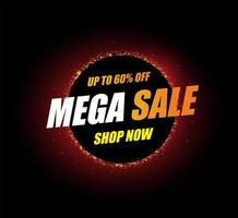 Glowing mega sale template on black