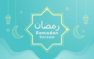 Ramadan Kareem Greeting Card on Aqua Background