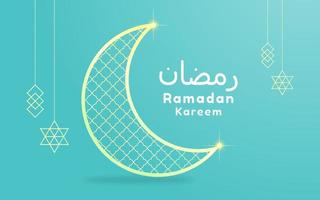 Ramadan Kareem Card with Moon and Lanterns