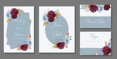 Watercolor Wedding Card Set in Blue with Roses
