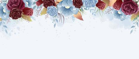 Watercolor Roses and Wild leaves with Copy Space