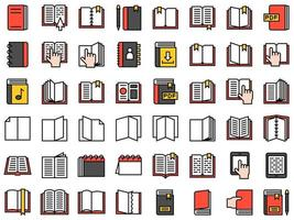 Set of Book and Notebook Icons