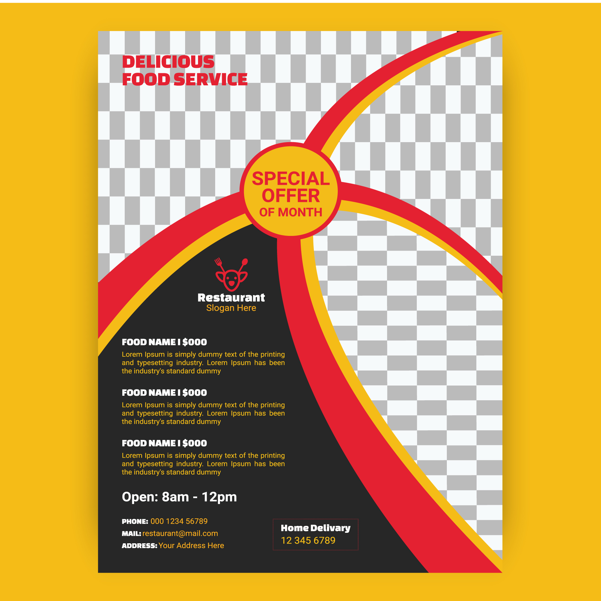 Red And Yellow Curved Stripes Restaurant Template Download Free Vectors Clipart Graphics Vector Art